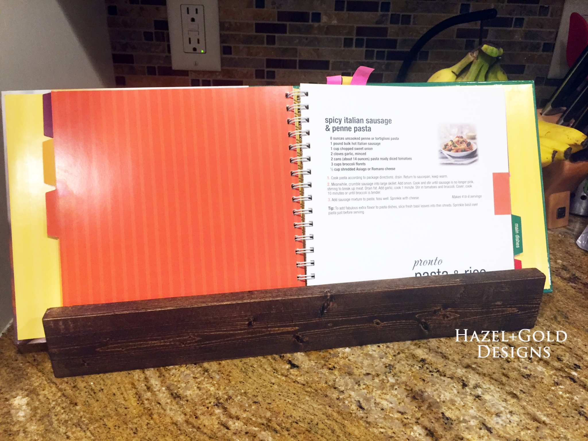 wooden book holder - recipe book