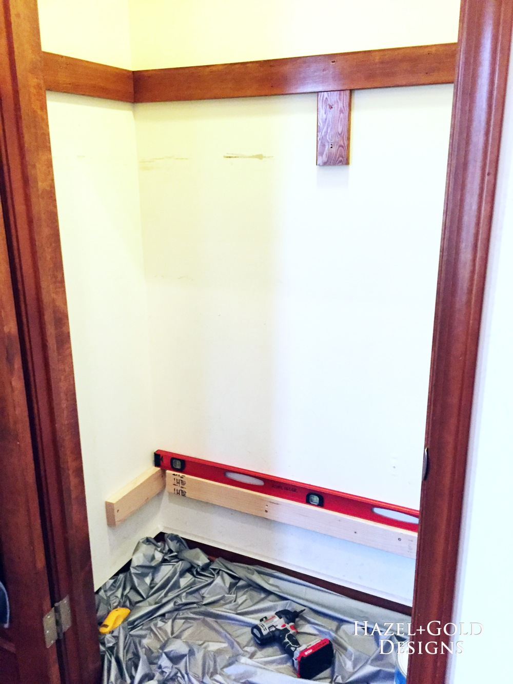 closet reno - installing supports for 1st shelf
