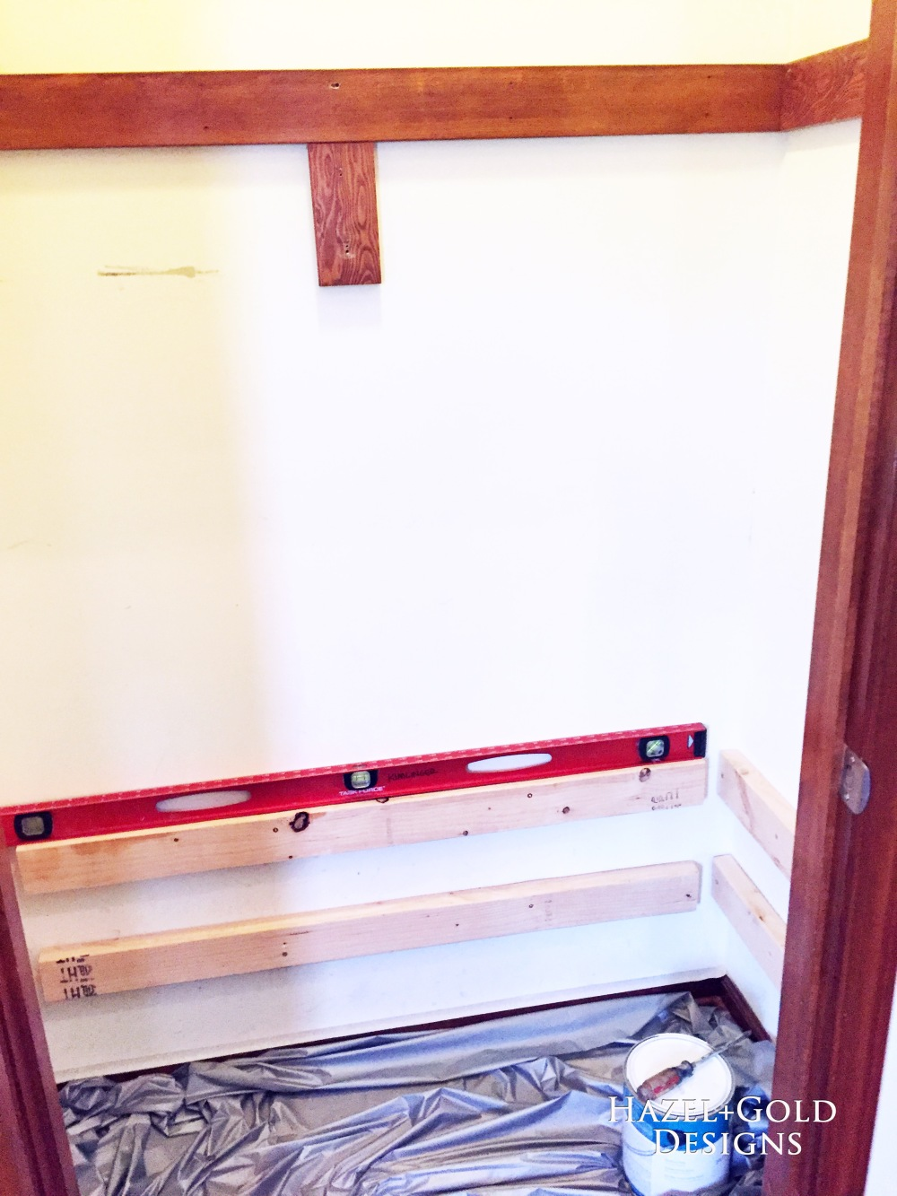 closet reno - installing supports for 2nd shelf
