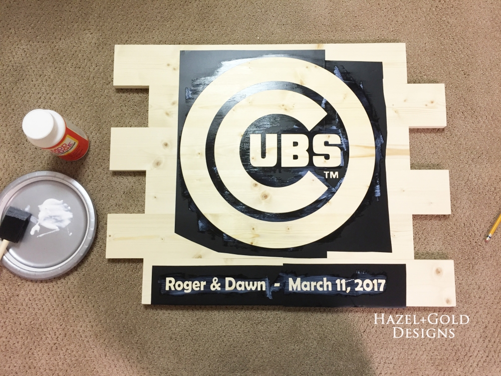 cubs sign applying decoupage
