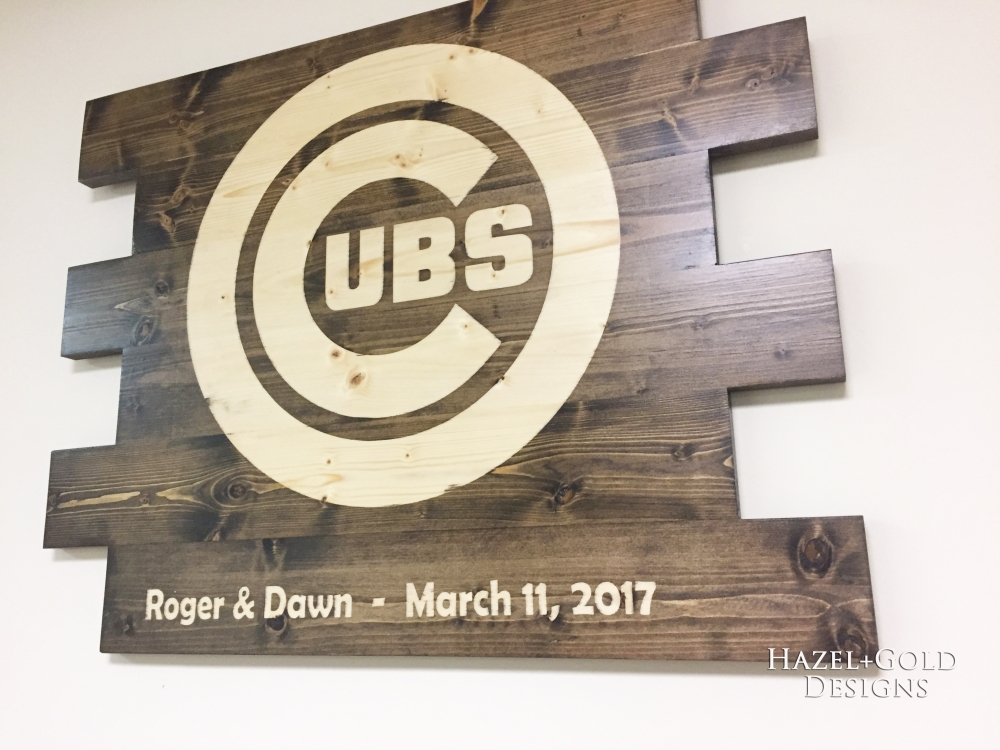 Finished Cubs sign from Side